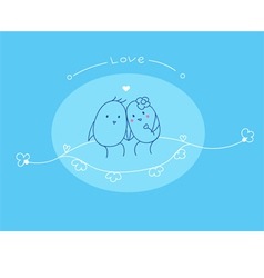 love and cute bird vector image
