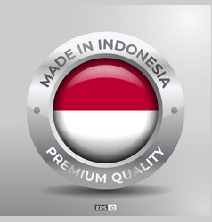 Made in indonesia label logo stamp round flag vector