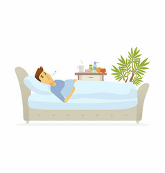 Man having a flu - cartoon people characters vector