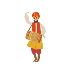 Man In Indian National Outfit Playing Drum vector