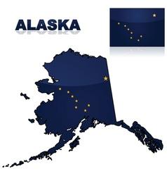 map and flag alaska vector image