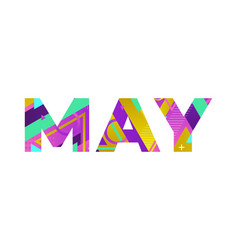 May concept retro colorful word art vector
