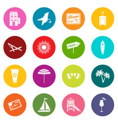 Miami icons many colors set vector