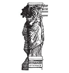 modern caryatid head vintage engraving vector image