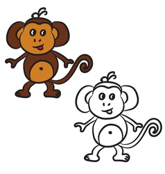 monkey coloring book vector image