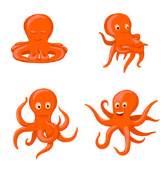 octopus emotional characters emoji drawings vector image