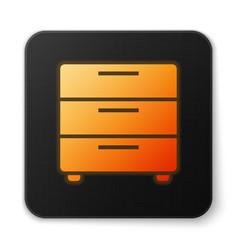 orange glowing furniture nightstand icon isolated vector image