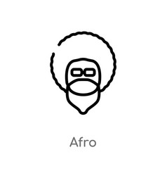 Outline afro icon isolated black simple line vector