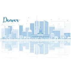 Outline Denver Skyline with Blue Buildings vector