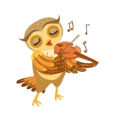 Owl Playing Violin Cute Cartoon Character Emoji vector