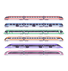 Passenger trains modern subway and railway train vector