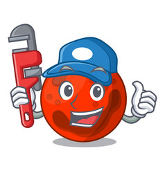Plumber mars planet mascot cartoon vector