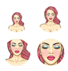 Pop art avatar icon - sexy woman s face vector