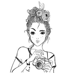 Portrait of a young woman with camera vector