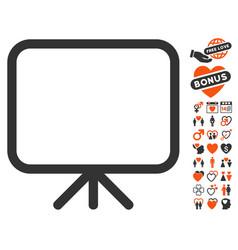 Presentation screen icon with love bonus vector