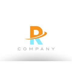 R orange blue logo icon alphabet design vector