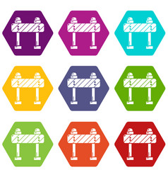 road block icons set 9 vector image