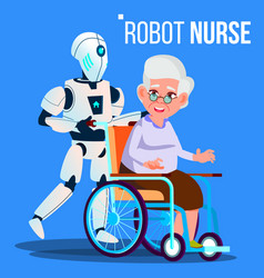 Robot nurse rolling wheelchair with elderly woman vector