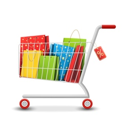 Sale colorful shopping cart with bags isolated on vector