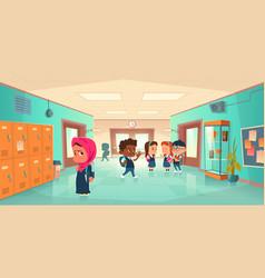 School hallway with kids different nationalities vector
