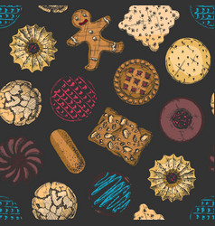 seamless pattern with different tasty cookies vector image