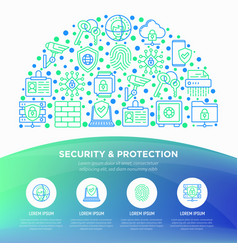 Security and protection concept in half circle vector