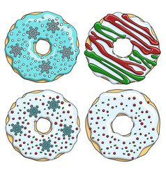 set cartoon colorful christmas donuts vector image