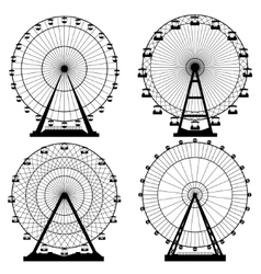 Set ferris wheel carnival vector