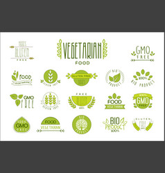 Set of food labels with text vegetarian vector