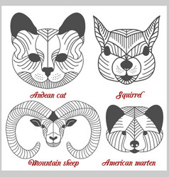 Set of polygonal animals polygonal logos vector