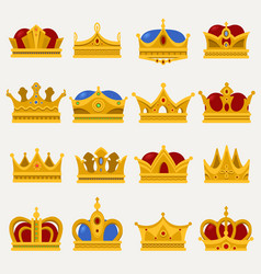 Set of royal king or prince crown pope tiara vector