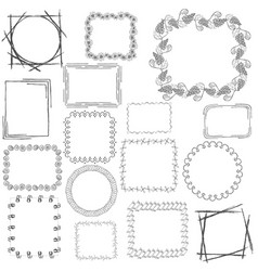 set with 16 doodle frames vector image