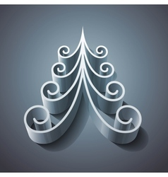 Shining silver 3d christmas tree vector