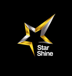 shiny gold silver star logo symbol icon vector image