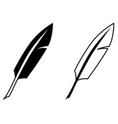 simple writing feather icon black and white vector image