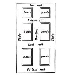 Six panelled door vintage vector