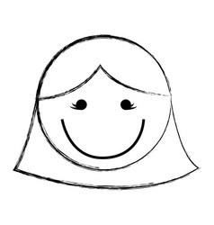 Sketch draw women face cartoon vector