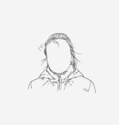Sketch girl portrait with no face hand drawn vector