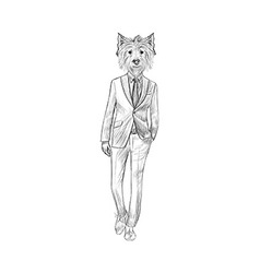 Sketch West Highland White Terrier in Hipster Suit vector