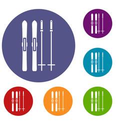Skis and ski poles icons set vector