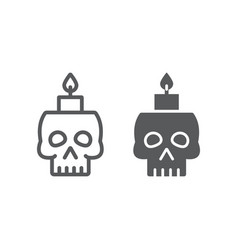 skull with candle line and glyph icon spooky and vector image
