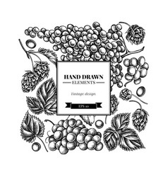 square floral design with black and white grapes vector image
