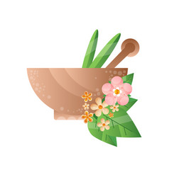 Stone mortar with green leaves and pestle spa vector