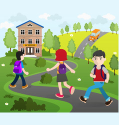 students going to school vector image