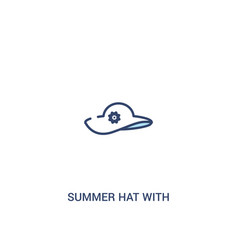 Summer hat with a flower concept 2 colored icon vector