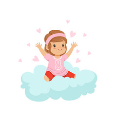 sweet little girl sitting on cloud surrounded by vector image