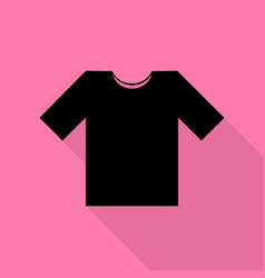 t-shirt sign black icon with flat vector image