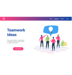 teamwork ideas lp template vector image
