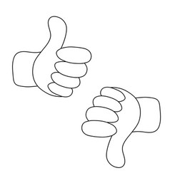 thumbs up and thumbs down - like and dislike vector image
