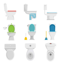 toilet bowl icons set isolated vector image